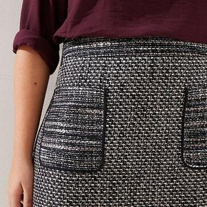 LOFT Plus Plaid Zip Pocket Shift Skirt